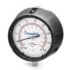 "INDUMART Indumart series P25 Pressure gauges/Dial size: 4""/Connection: ½"" NPT, bottom/Case: 304SS, DIN/Bourdon tube system: 316L SS / Window: Safety glass / Range: 0 – 10 bar"